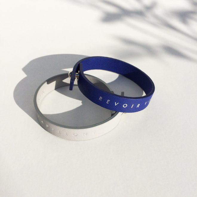 bracelets alice eco designed en cuirs recyclés bleu klein gris