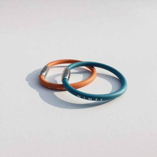 Bracelets cuir eco friendly Ninti ring coloris bleu tropique mangue