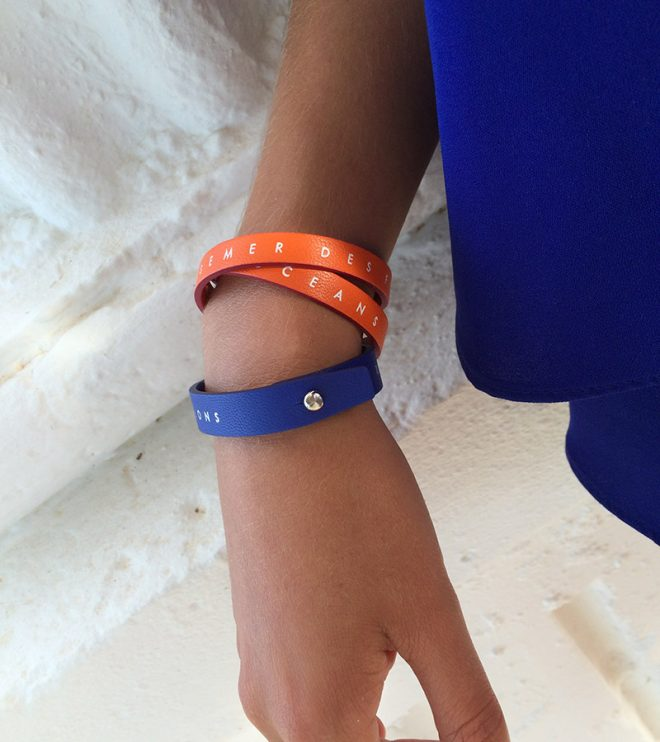 Bleu Klein simple tour and orange double tour Alice eco designed bracelets