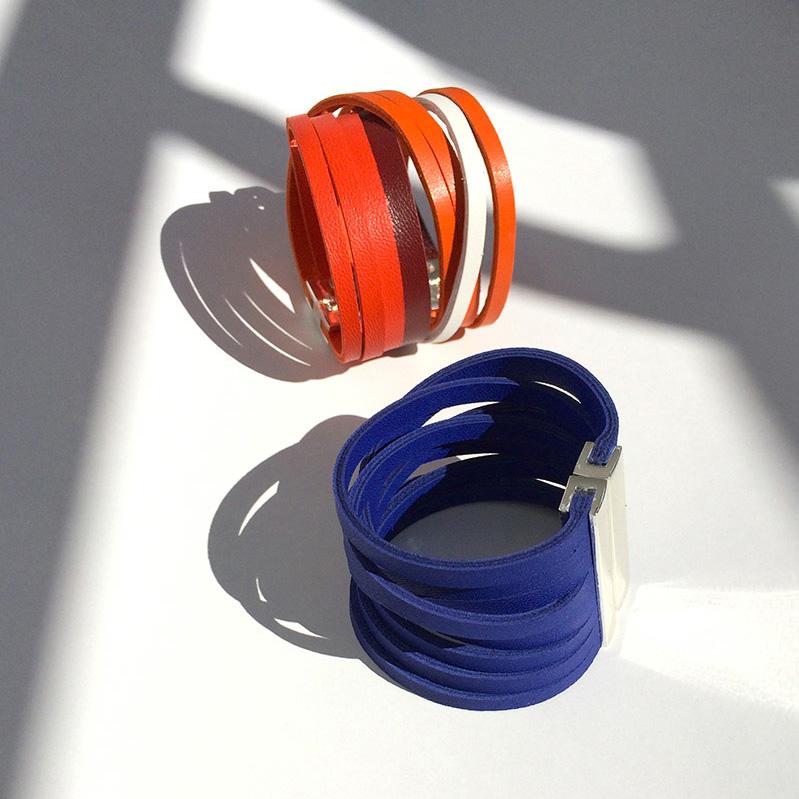 bracelets manchette cuir eco friendly Paratii bleu Klein et tricolore